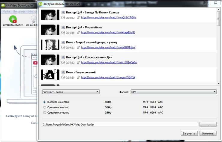 4K Video Downloader - Загрузка плейлиста с ютуб
