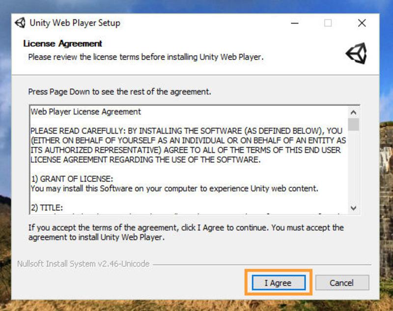 Установочное окно Unity Web Player