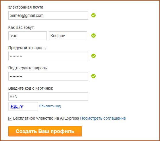 Пример внесения регистрационных данных