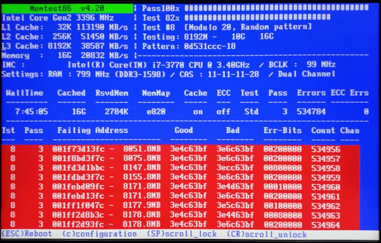 Сканирование оперативной памяти на ошибки Memtest86