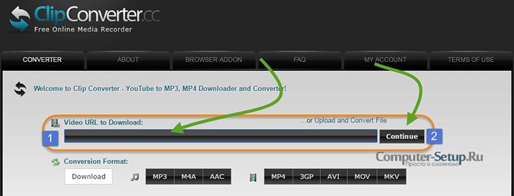 Онлайн сервис ClipConverter.cc для загрузки клипов с интернета