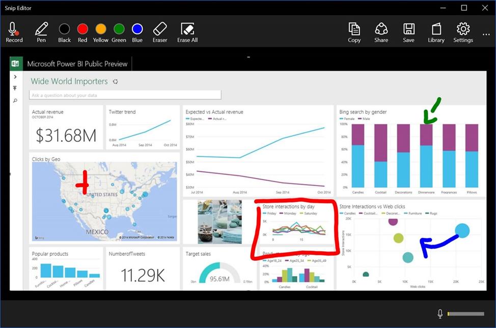 Рабочее окно приложения Microsoft Snip