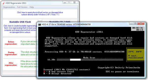 Интерфейс программы HDD Regenerator