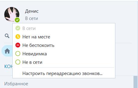 Режимы работы скайпа